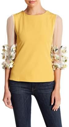 Gracia Floral Applique Sheer Sleeve Blouse
