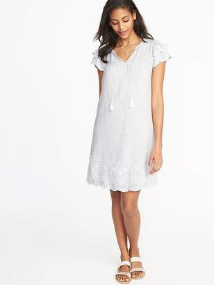 Old Navy Tassel-Tie Linen-Blend Swing Dress for Women