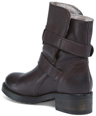 Made In Italy Shearling Lined Leather Boots