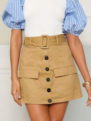Shein Buckle Belted Button Up Skirt