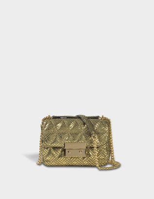 MICHAEL Michael Kors Sloan Small Chain Shoulder Bag in Gold Pyramid Quilted Maya Met Leather