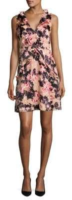 Saloni Sleeveless Devore Mini Dress