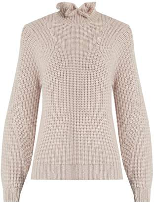 Rebecca Taylor Ruffled-neck wool-blend sweater