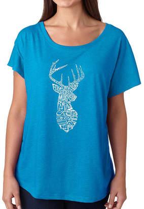 LOS ANGELES POP ART Los Angeles Pop Art Women's Loose Fit Dolman Cut Word Art Shirt - Types of Deer