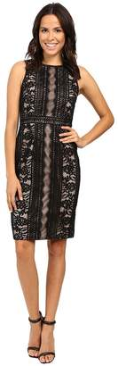 Adrianna Papell Fully Lined Striped Lace and Floral Sheath Dress with Jeweled Neckline Women's Dress