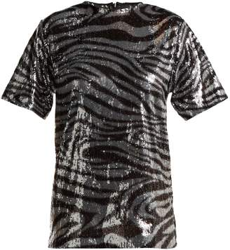 HALPERN Zebra-patterned sequinned T-shirt