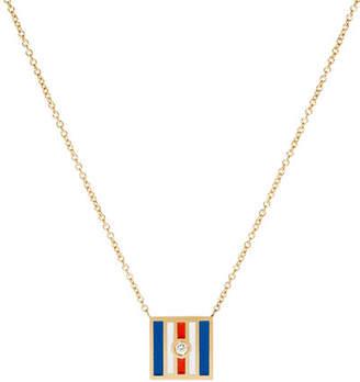 K Kane Code Flag Square Diamond Pendant Necklace - C