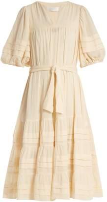 Zimmermann Prima Tuck tie-waist cotton dress