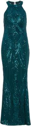 Quiz Olivia's Bottle Green Sequin High Neck Fishtail Maxi Dress