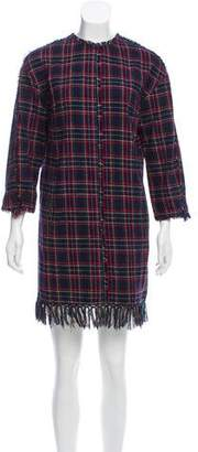 Sjyp Fringe-Trimmed Tartan Dress