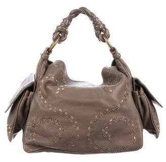 Bottega Veneta Snakeskin-Trimmed Leather Hobo