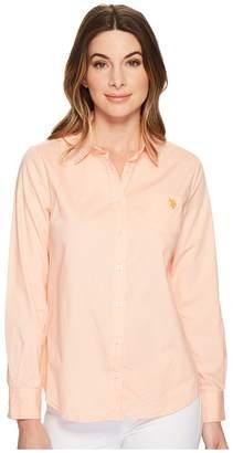 U.S. Polo Assn. Solid Single Pocket Long Sleeve Shirt Women's Long Sleeve Button Up