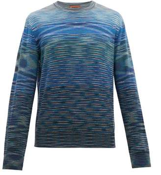 Missoni Striped Crew Neck Wool Sweater - Mens - Blue Multi