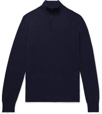 Ermenegildo Zegna Slim-Fit Nubuck-Trimmed Cashmere Half-Zip Sweater