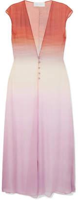 Esteban Cortazar Ombre Crinkled Silk-chiffon Midi Dress
