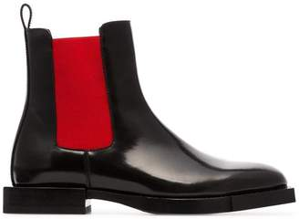 Alexander McQueen black and red chelsea leather boots