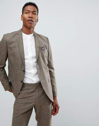 Selected Slim Fit Suit Jacket In Brown Check