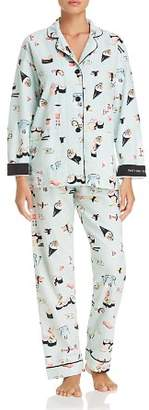 PJ Salvage That's How I Roll Sushi Print Flannel Cotton Pajama Set