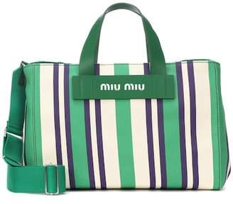 Miu Miu Striped canvas shopper
