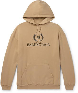 Balenciaga Oversized Logo-Print Loopback Cotton-Jersey Hoodie - Men - Neutrals