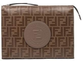 Fendi Brown Stamp Clutch