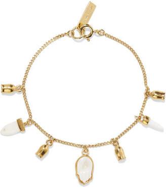 Isabel Marant Gold-tone, Bone And Enamel Bracelet