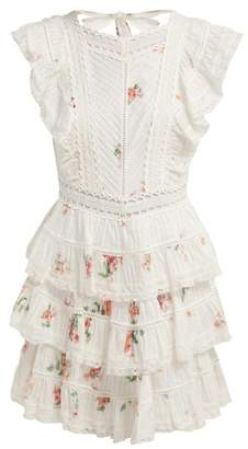 Zimmermann Heathers Floral Print Embroidered Lace Mini Dress - Womens - White Multi