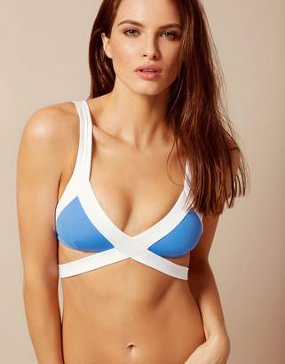 Agent Provocateur Mazzy Bikini Top White And Blue