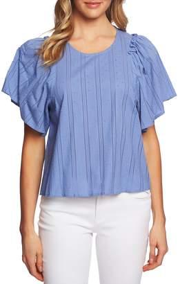 CeCe Flutter Sleeve Striped Blouse