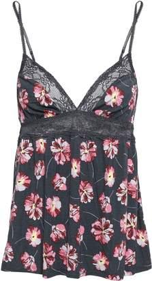 Eberjey Veranda Chantilly Lace-trimmed Floral-print Stretch-modal Camisole