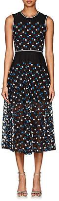 Cynthia Rowley WOMEN'S FLORAL-EMBROIDERED MESH MIDI-DRESS