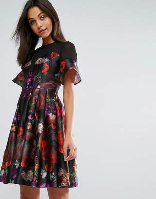 Skeena S Midi Prom Dress in Heavy Satin in Dark Floral