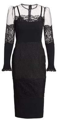 Dolce & Gabbana Long Sleeve Sheer-Yoke Midi Dress