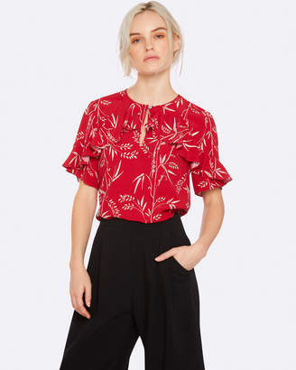 Oxford Alexa Red Print Blouse Red