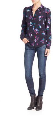 Rebecca TaylorSilk Bellflower Button-Front Blouse