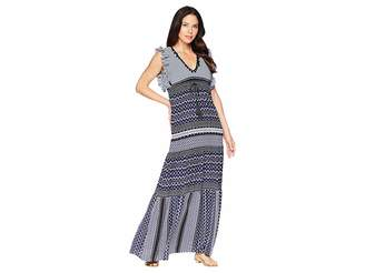 Taylor Mixed Print V-Neck Maxi Dress Women's Dress