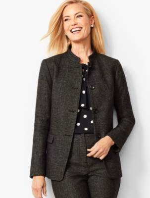 Talbots Luxe Diamond Weave Collection - Button-Front Jacket