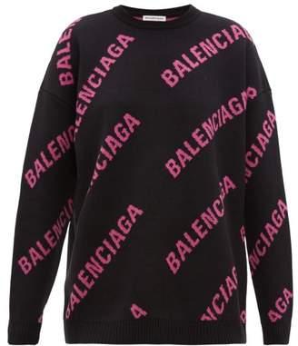Balenciaga Logo Jacquard Cotton Blend Sweater - Womens - Black Pink