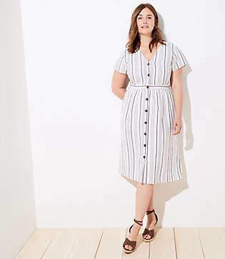 LOFT Plus Striped Button Down Pocket Dress