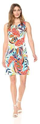 MSK Women's Floral Trapeze Dress with Coconut Three Ring Neck Detail