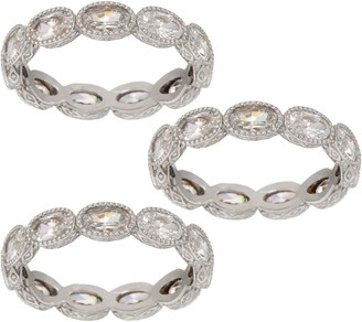 Judith Ripka Sterling or 14K Clad Set of 3 Oval Diamonique Band Rings