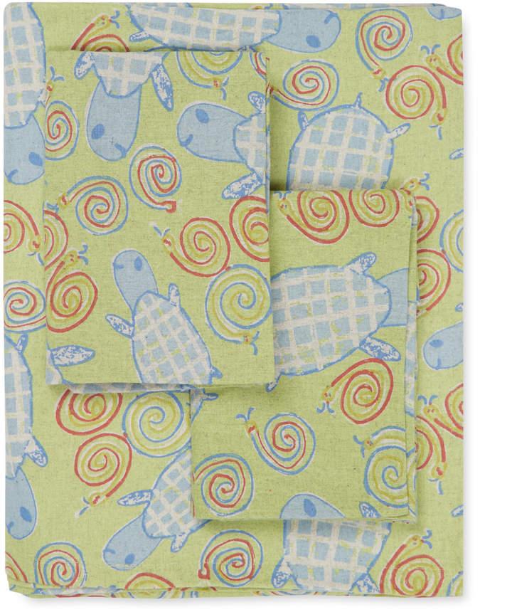 Turtle Snails Flannel Sheet Set