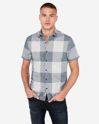 Express Slim Plaid Checker Button-Down Shirt