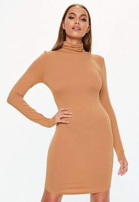 Missguided Camel Turtle Neck Long Sleeve Bodycon Mini Dress