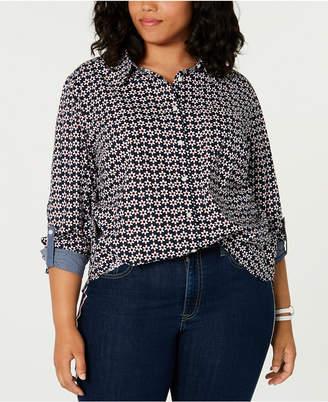 Tommy Hilfiger Plus Size Cotton Daisy-Print Roll-Tab Shirt
