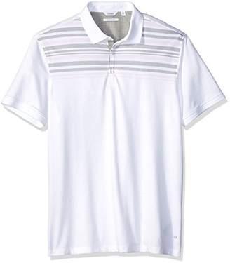 Calvin Klein Men's Short Sleeve Polo Shirt Engineer Striped Two Button