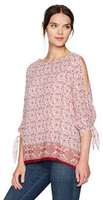 Max Studio Women's Split Sleeve Cold Shoulder Printed Blouse