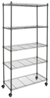 "Unbrand Adjustable Wire Shelving 5-Tier Shelf Metal Shelf Unit with Wheels for Kitchen Bedroom Garage 29""W x 61""H x 14""D Muscle Rack"