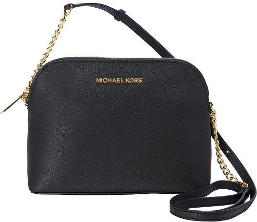 Michael Kors MICHAEL Cindy Large Dome Crossbody - BLACK/GOLD - STYLE