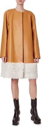 Loewe Mongolian Fur Trim Leather Coat